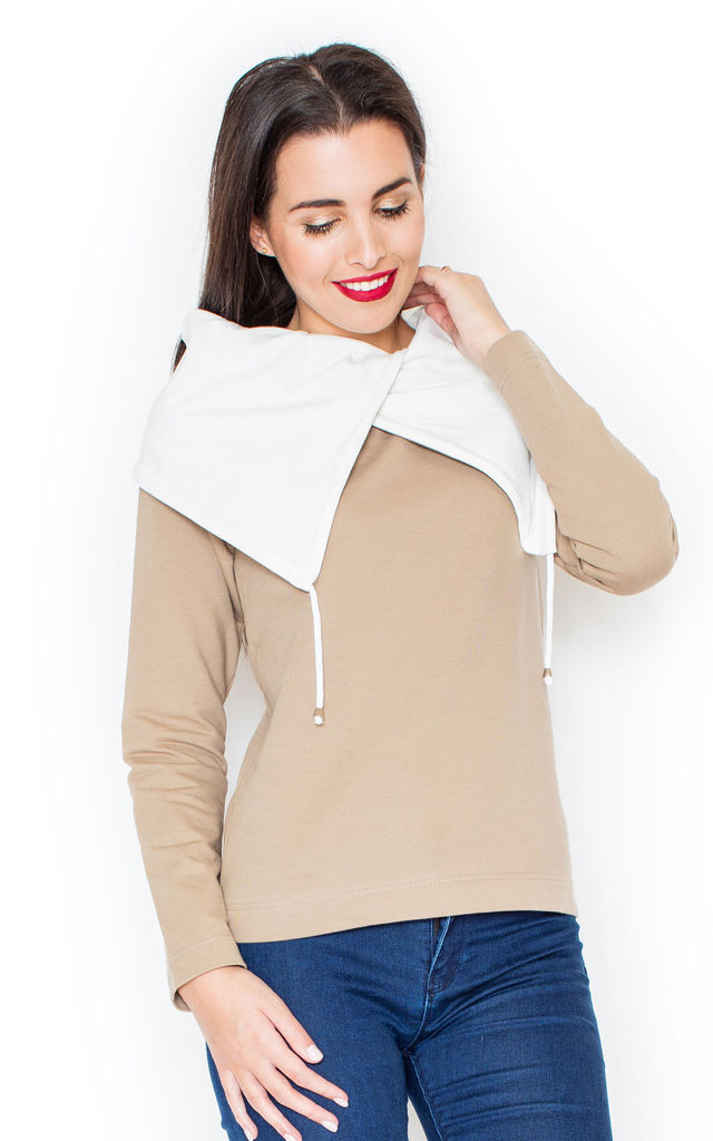 Beige Sweater with Big Contrast Collar by KATRUS