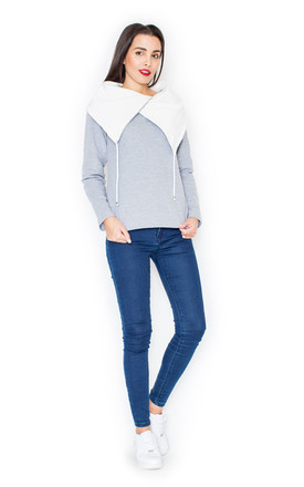 Grey Sweater with Big Contrast Collar by KATRUS