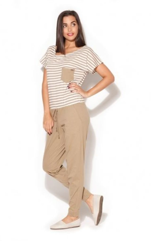 Beige Jumpsuit with Striped Top by KATRUS