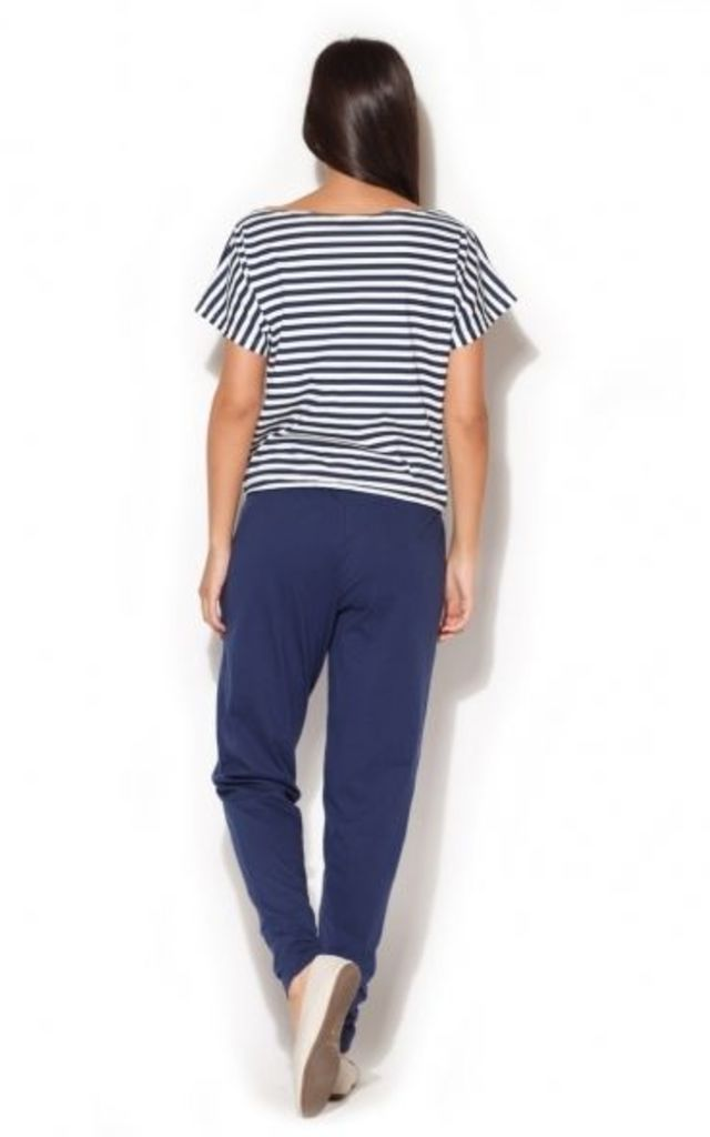 Navy Blue Jumpsuit with Striped Top by KATRUS