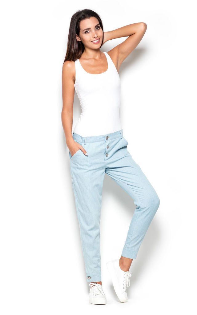 Light Blue Denim Trousers with Buttons by KATRUS
