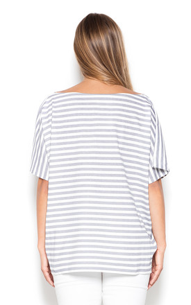 Grey Oversized Stripped Top by KATRUS