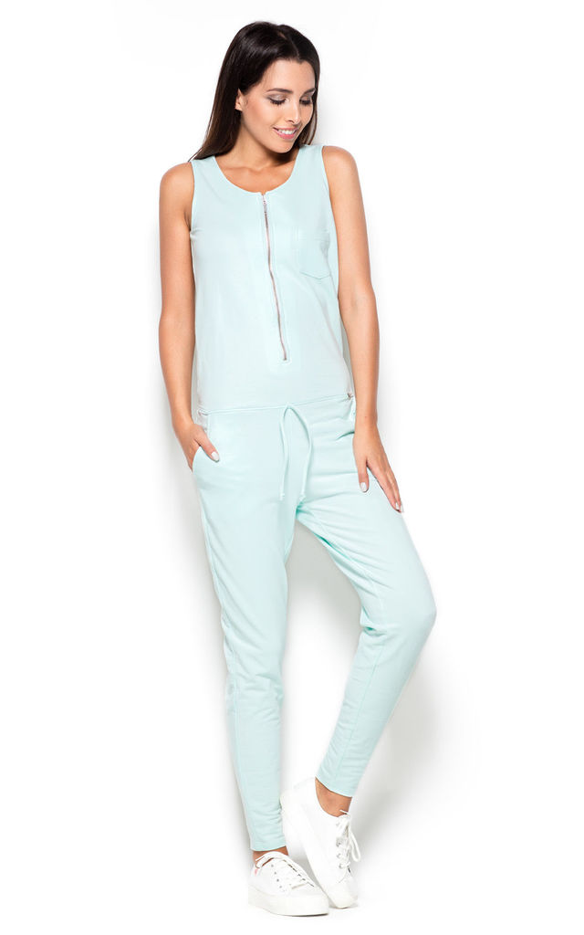 Mint Sleeveless Jumpsuit with Zip Front by KATRUS