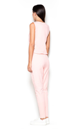 Pink Sleeveless Jumpsuit with Zip Front by KATRUS