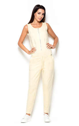 Light Yellow Sleeveless Jumpsuit with Zip Front by KATRUS