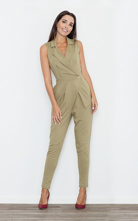 Green Sleeveless One Button Jumpsuit by FIGL