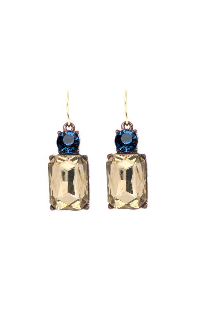Simple Gem Earring in Smoke with Deep Blue by LAST TRUE ANGEL