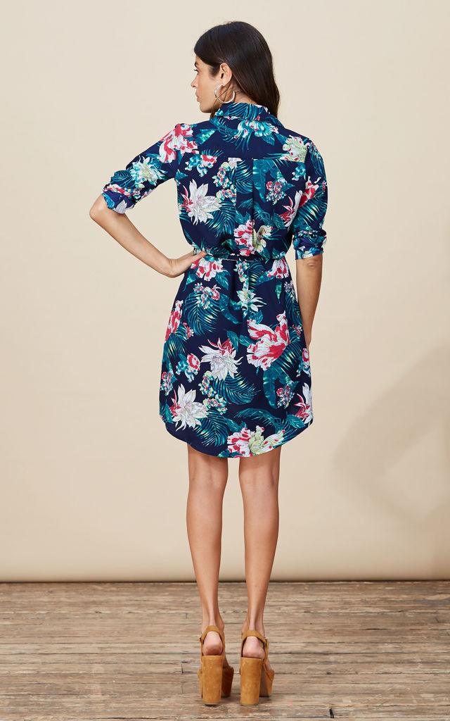 Mini Shirt Dress in Navy Paradise Print image