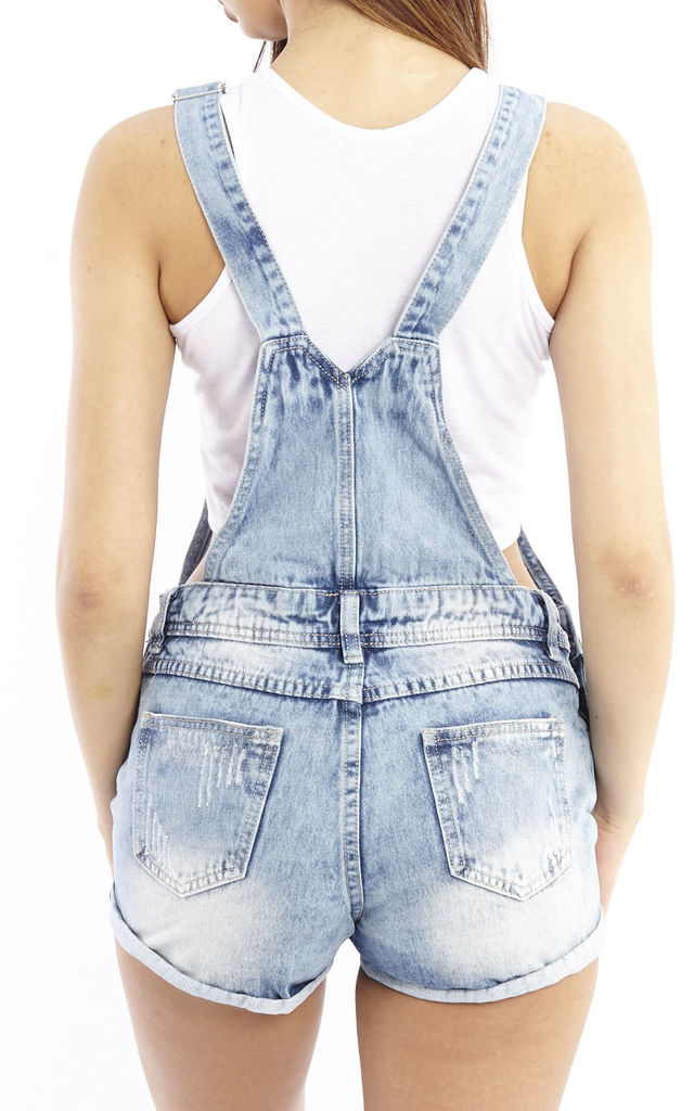 Ripped Denim Dungaree Shorts by Npire London