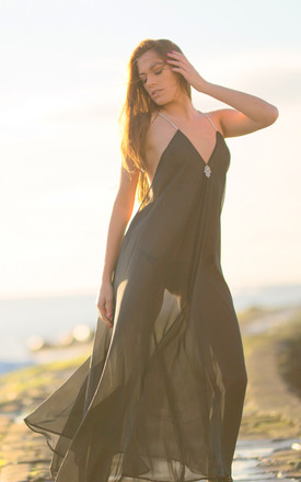 Black Backless Hamsa Maxi by Natasha Kieran Product photo