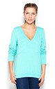 Green V Neck Blouse with Front Pockets by KATRUS
