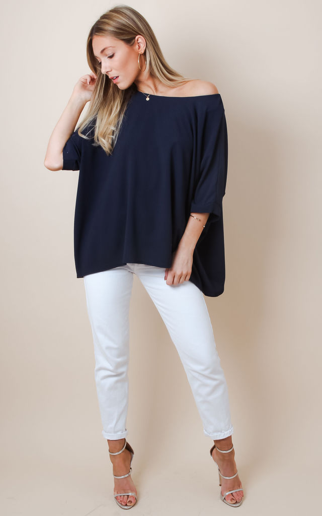 Crepe Slouchy Square Top - Navy by Pretty Lavish