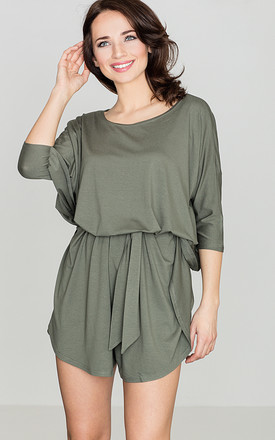 Olive Tie Waist Playsuit by LENITIF