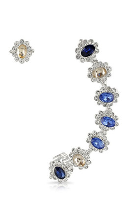 Blue Jewel Ear Crawler & Stud Set by Johnny Loves Rosie