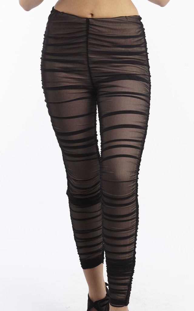 Black Mesh Ruched Leggings by Npire London