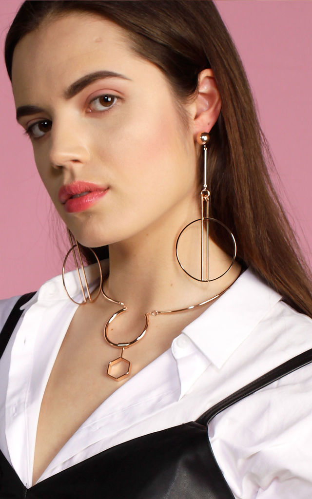 Ball And Drop Circle Earrings Rose Gold by DOSE of ROSE