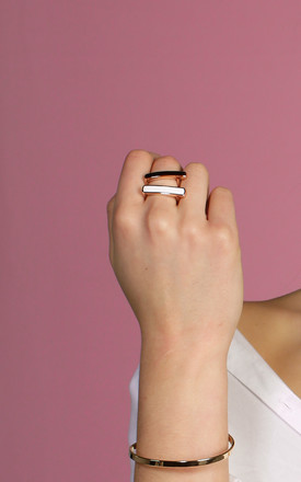 Sleek Enamel Ring White by DOSE of ROSE