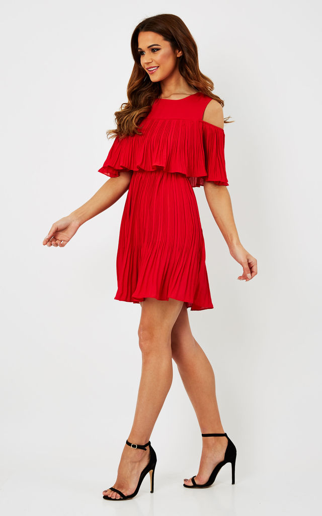 Red Cold Shoulder Ruffle Top Dress by Glamorous