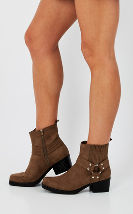 Taupe Suede Buckle Ankle Boot by Truffle Collection Product photo