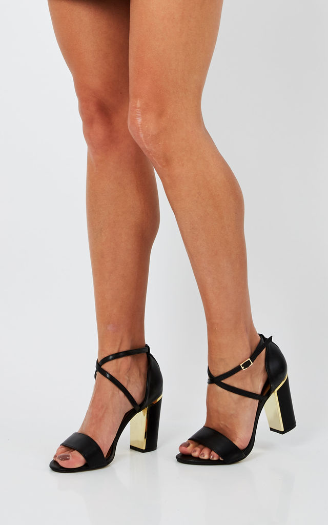 Black Strappy Block heel by Truffle Collection