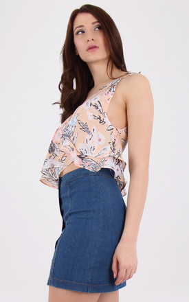 V Neck Single Stripe Sleeveless Floral Crop Top by MISSTRUTH