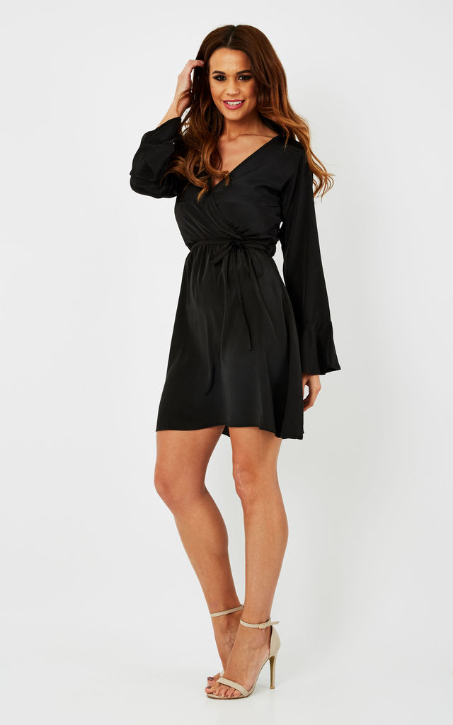 Black Bell Sleeve Wrap Front Dress by likemary