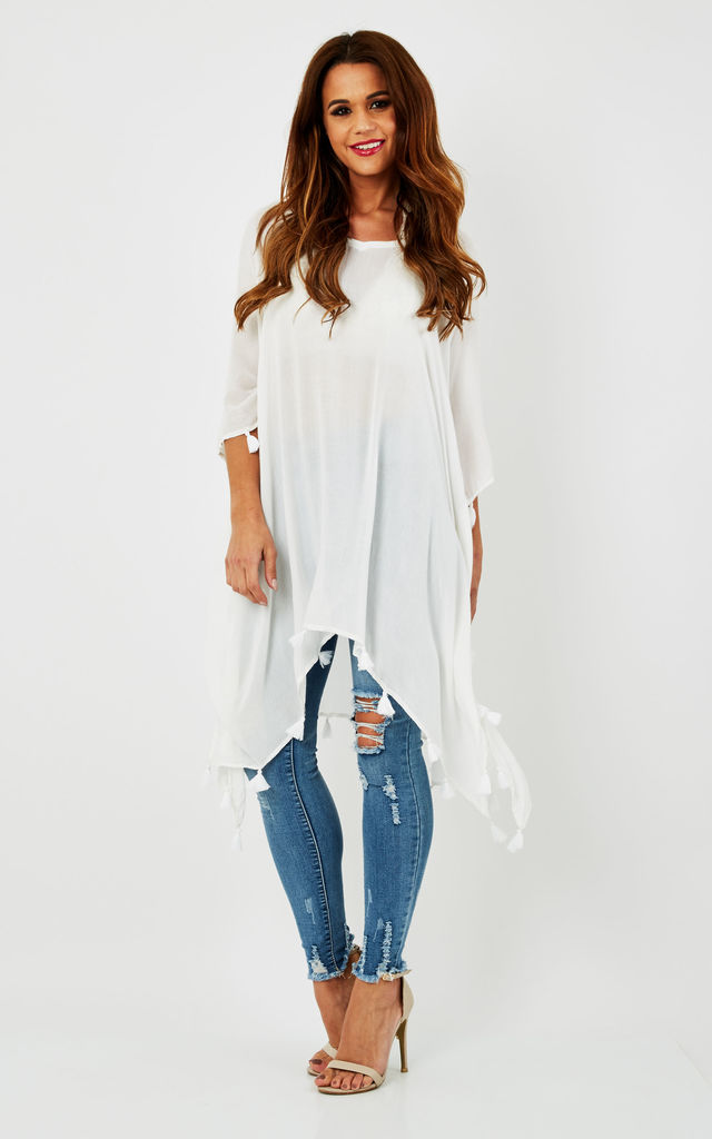 White Tassel Detailed V-Neck Kaftan by Lilah Rose