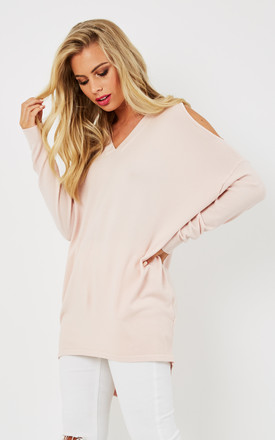 Baby pink Cold Shoulder V Neck Jumper by Lilah Rose