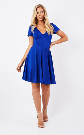 Blue V Neck A Line Dress by Glamorous Product photo