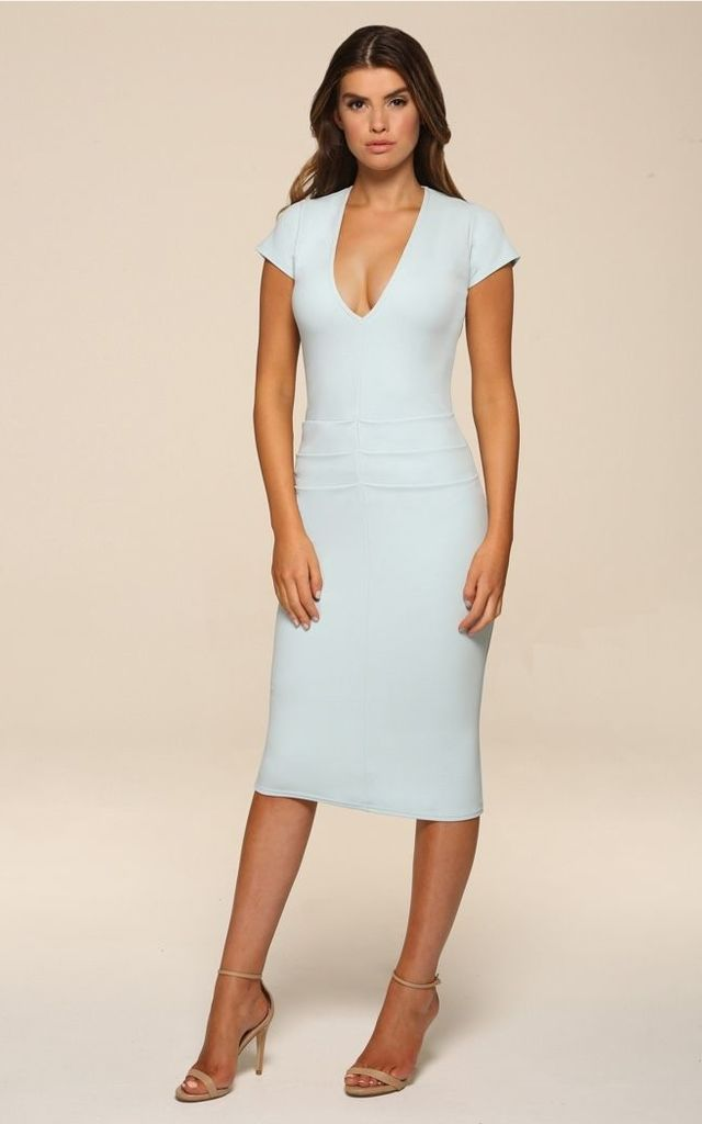 Kelsey Mint Midi Bodycon Dress by Honor Gold
