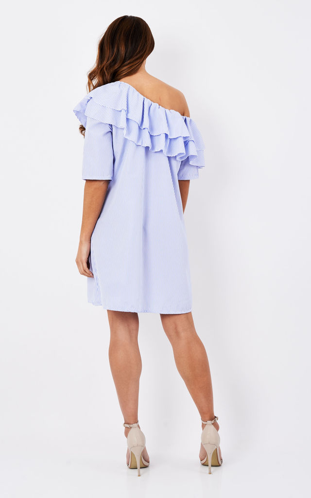 Light Blue Frill Front One Sleeve Off The Shoulder Dress by Bella and Blue