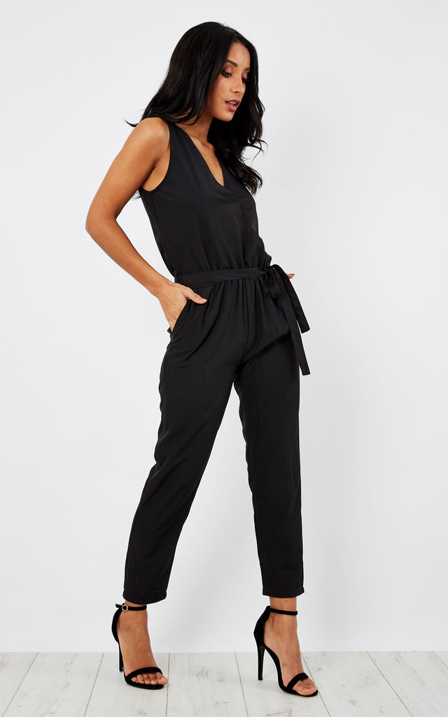 Take Me Out Crossover Jumpsuit Black by likemary