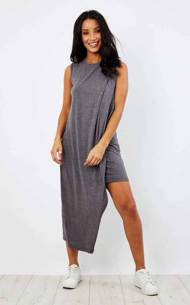 Jersey midi dress with asymmetric overlay in grey by Paisie