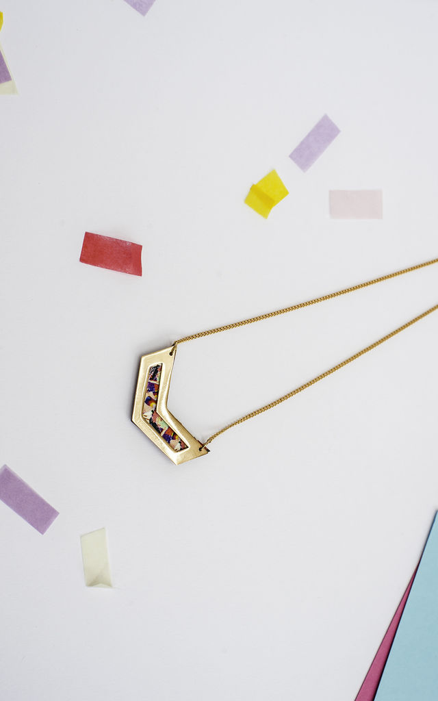 Rose Gold Necklace Chevron Cut Out Geometric by Melody G