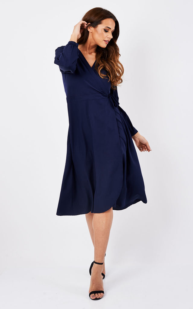 Midi Long Sleeves Wrap Dress Blue by likemary