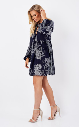 Navy Large Paisley Tie Neck Dress by Glamorous