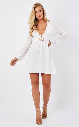 White V Neck Tassel Front Dress by Glamorous Product photo