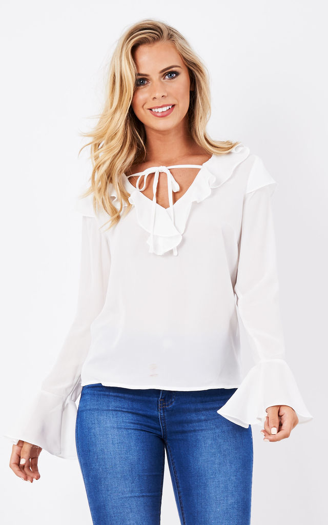 White Frill Shirt with Bell Sleeves by Glamorous