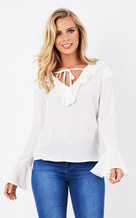White Frill Shirt With Bell Sleeves by Glamorous Product photo