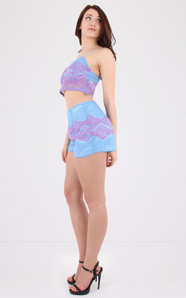 Lace Floral Co-ord Set Purple by MISSTRUTH