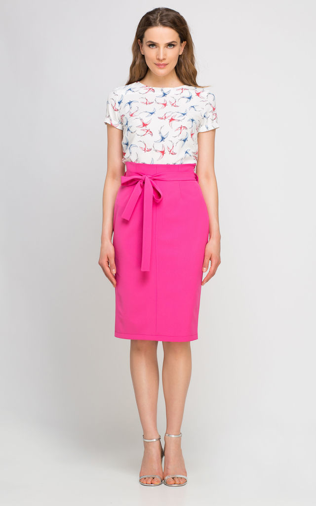 Pencil high waisted midi skirt, fuchsia by Lanti