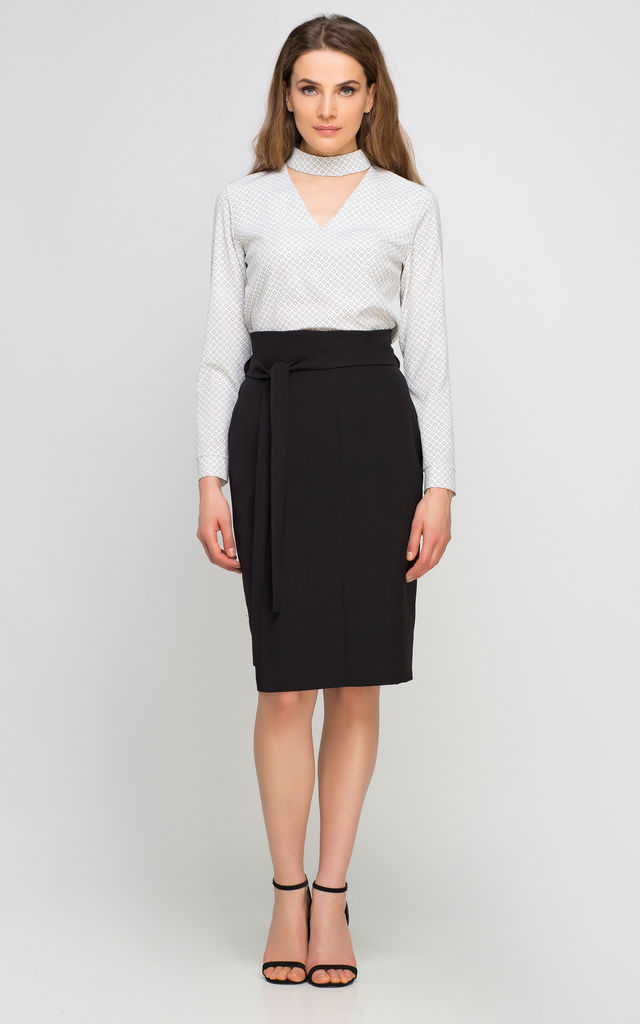 Pencil high waisted midi skirt, black by Lanti