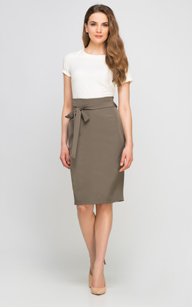 Pencil high waisted midi skirt, khaki by Lanti