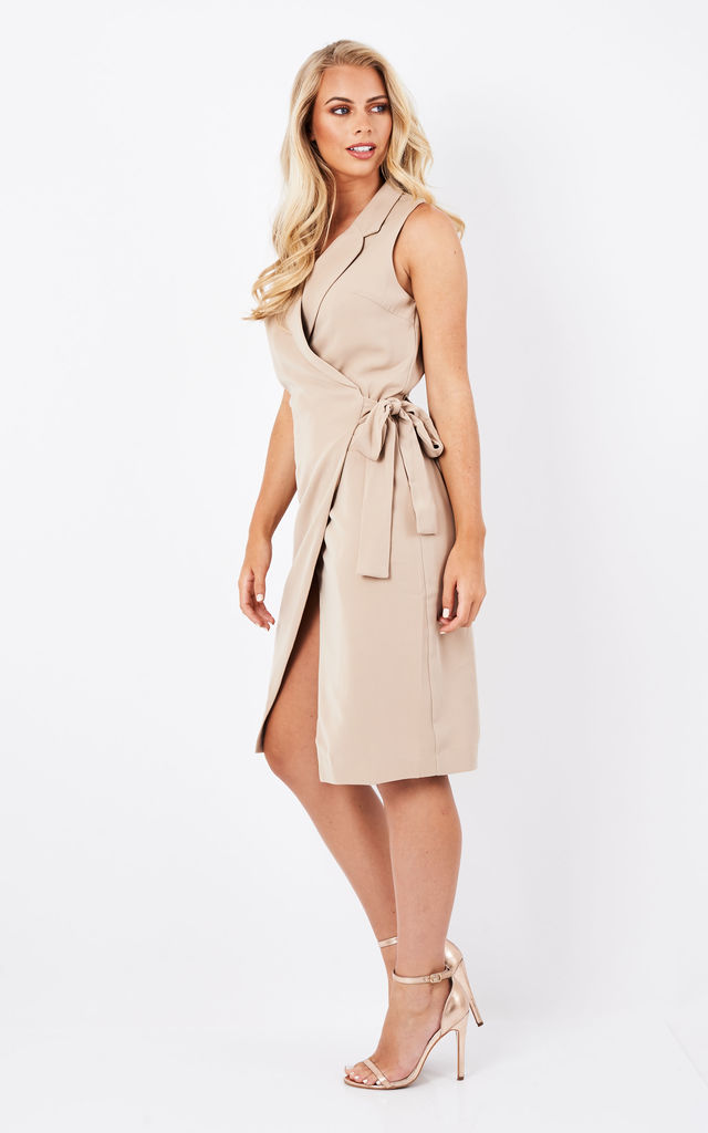 Tuxedo dress with side tie in tan by Paisie