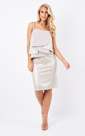 Spaghetti strap cocktail dress with metallic layers by Paisie