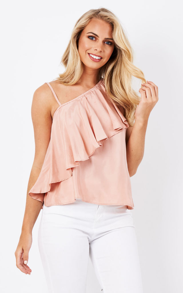 Asymmetric Top with One Shoulder Frills and Spaghetti strap by Paisie
