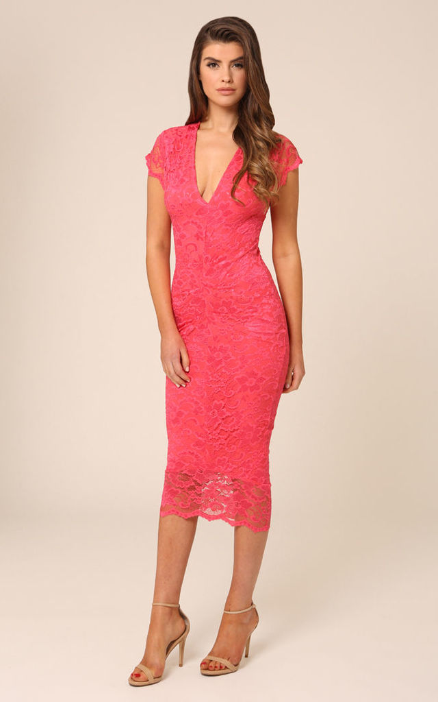 Adrianna Lace Coral Midi Dress by Honor Gold