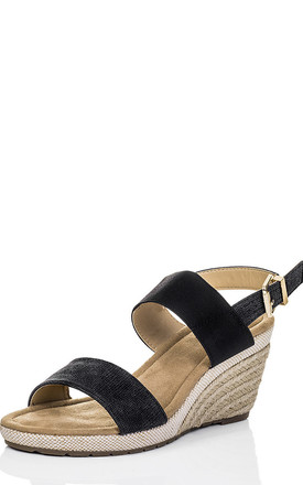 KALAHARI Open Peep Toe Wedge Heel Espadrille Barely There Sandals Shoes - Black Leather Style by SpyLoveBuy