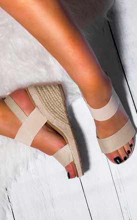 Kalahari Open Peep Toe Wedge Heel Espadrille Barely There Sandals Shoes   Beige Leather Style by SpyLoveBuy Product photo