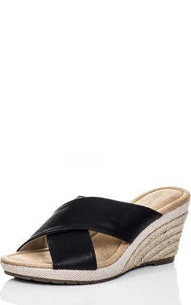 SEYCHELLE Open Peep Toe Wedge Heel Espadrille Sandals Shoes - Black Leather Style by SpyLoveBuy